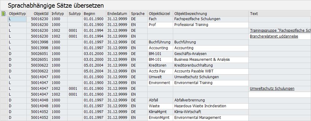 Übersetzen von Orgobjekten in SAP