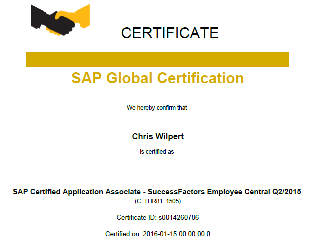 sap & successfactors certification and my ec delta certification ...