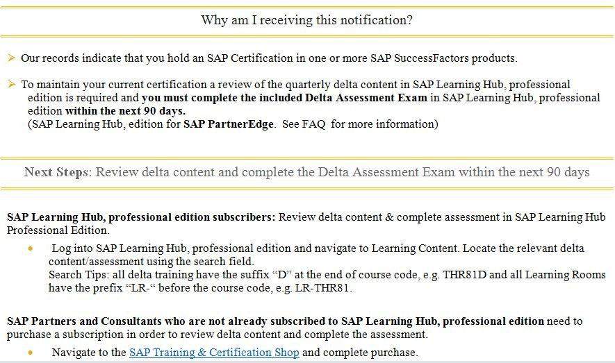 email successfactors delta content