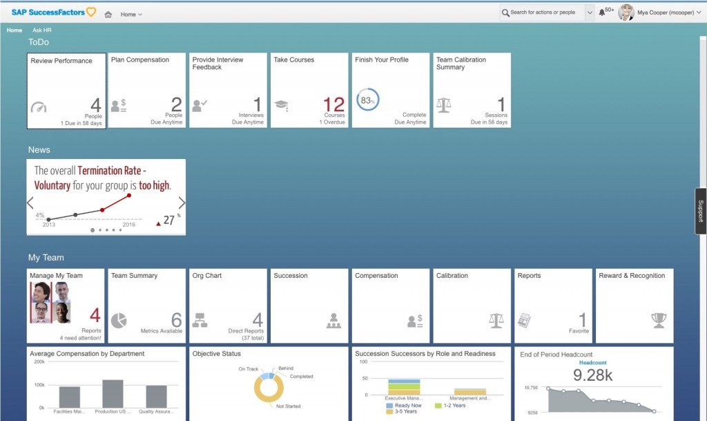SuccessFactors HomePage