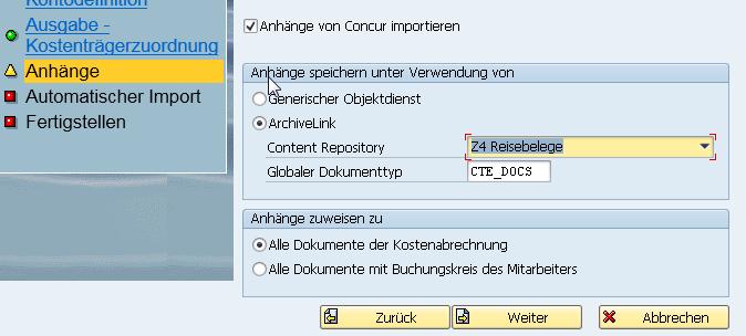 Anhänge von Concur nach SAP FI importieren